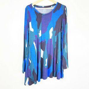 LOGO Lori Goldstein knit swing top Large Blue